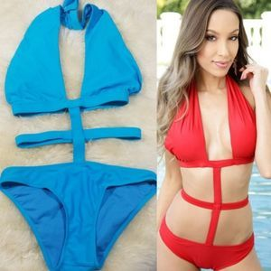 Blue Caged Sexy Strappy Halter Monokini Swimsuit